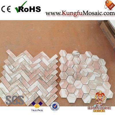 Tuiles de sol de mosaïque de marbre rose