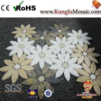 Flower Pattern Daisy Marble Mosaic Tiles