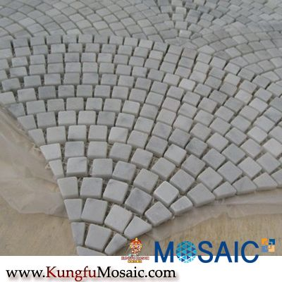 Fanshaped Sector Carrara White Marble Mosaic
