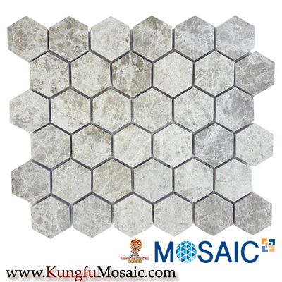 Tuile en mosaïque de marbre emperador hexagonale