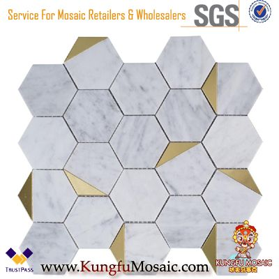 Bianco Carrara Hexagon Polished Metal and Marble Mosaic