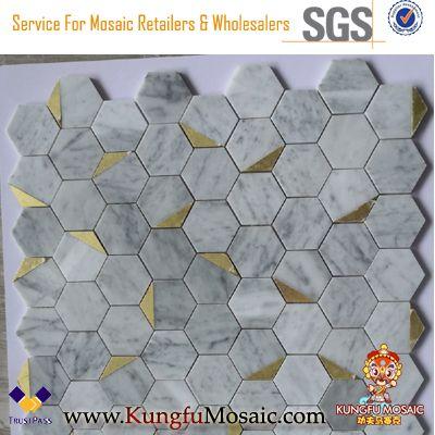 Bianco Carrara Hexagon Polished Metal and Marble Mosaic