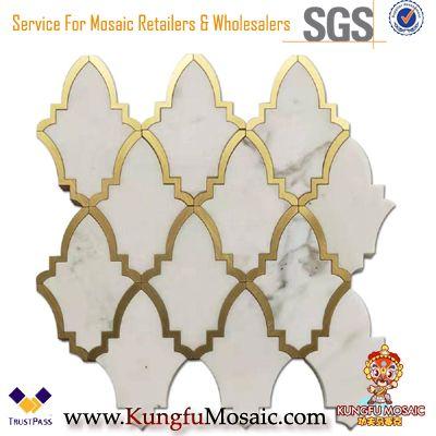 Bianco Carrara White Marble Mixed Brass Waterjet Mosaic Tile