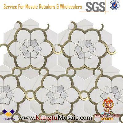 Calacatta White Marble Mosaic Water Jet