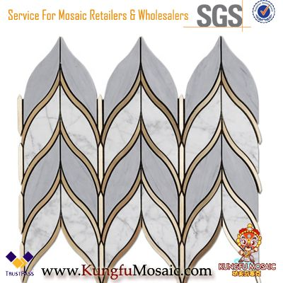 Chevron Marble Mosaics Kitchen Backsplash