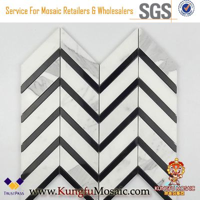 Chevron Pattern Black Strip Calacatta Marble Mosaic Backsplash