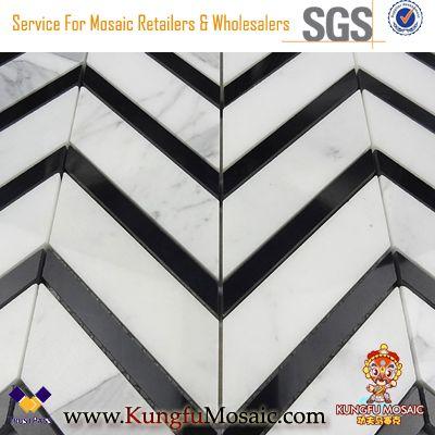 Chevron Pattern Black Strip Calacatta Marble Mosaic Backsplash