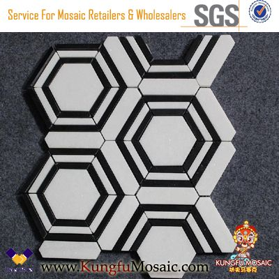 Thassos White Marble And Black Marble Hexagon Mosaic
