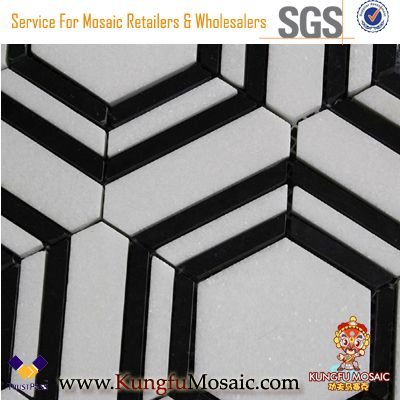 Thassos White Marble And Black Marble Hexagon Mosaic