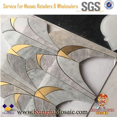 Waterjet Natural Marble Mosaic With Brass