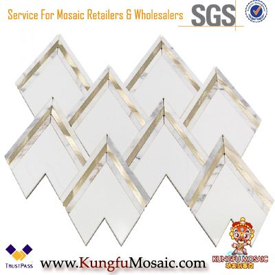 White Gold Marble Brass Inlay Waterjet Mosaic Tile
