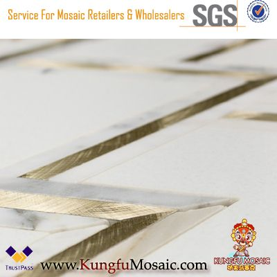 White Gold Marble Brass Inlay Waterjet Mosaic Tile