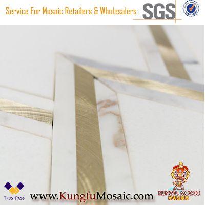 Weißgold Marmor Messing Inlay Waterjet Mosaik Fliesen