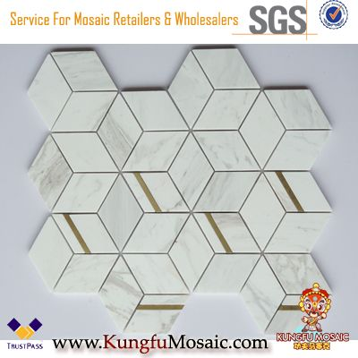 White Marble Mosaic With Stainless Steel Background Wall