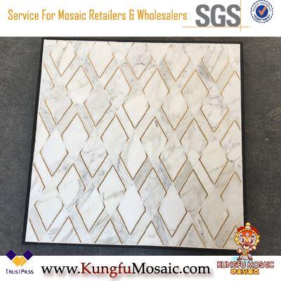 Calacatta Золотая мраморная мозаика с металлической стеной Декоративные
