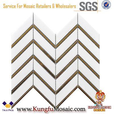 Herringbone White Thassos Marble And Gold Metal Mosaic