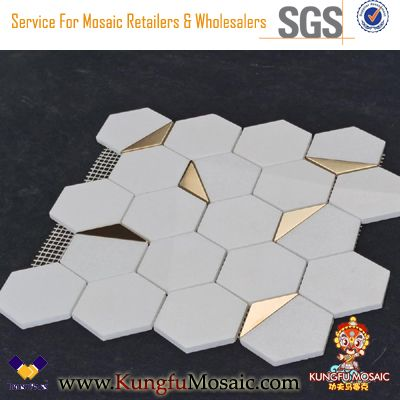 Hexagonal White Marble Mosaic Decorated With Golden Metal