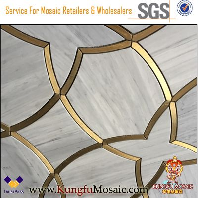Italian Marble Water Jet Arabesque Mosaic