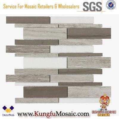 Mosaïque en marbre gris en bois de mélange linéaire pour le mur