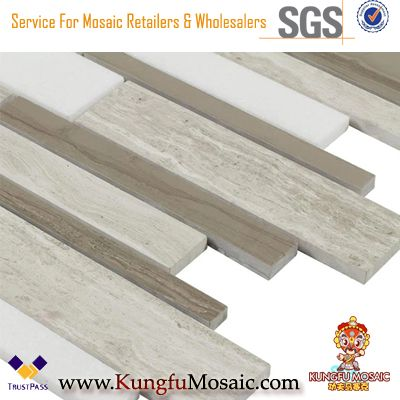 Linear Mix Wooden Grey Marble Mosaic For Wall