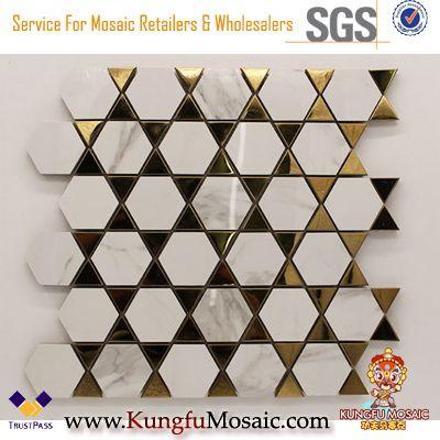 Carreaux modernes de mur de mosaïque de salle de bains en marbre blanc