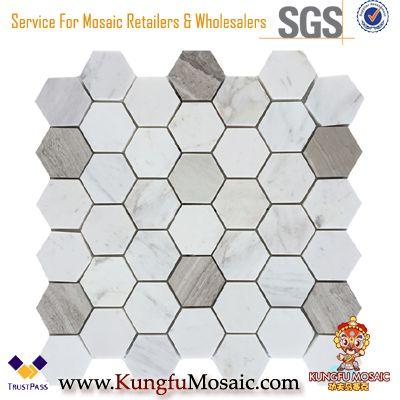 Tuiles hexagonales en marbre de mosaïque de jet d'eau