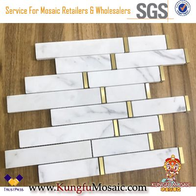 White Marble Mosaic Inlay Brass Mosaic