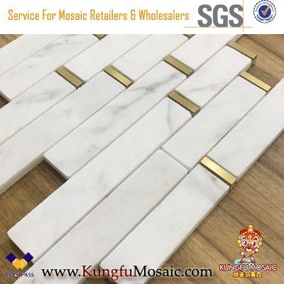 Weißer Marmor Mosaik Inlay Messing Mosaik
