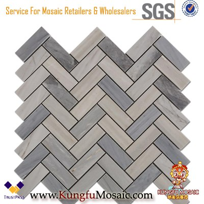 Fischgrät grau Marmor Mosaik Fliesen für Wand