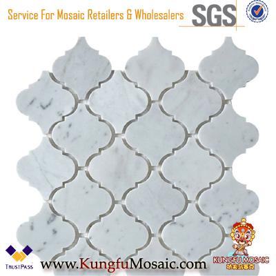 Azulejos de mármol de la linterna Carrara Mosaico blanco