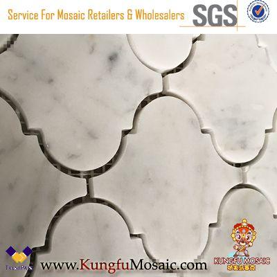 Laterne Marmor Fliesen Carrara weiß Mosaik