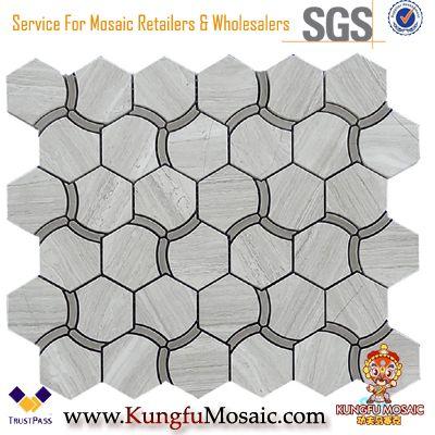 Spécial Hexagone bois gris marbre mosaïque en gros