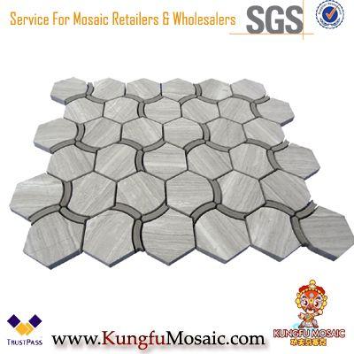 Spezielle Sechseck Holz grau Marmor Mosaik Großhandel