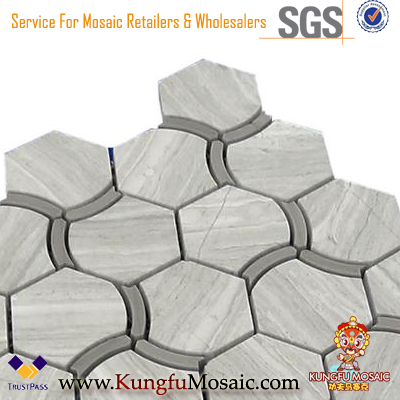 Wooden Gray Marble Mosaic