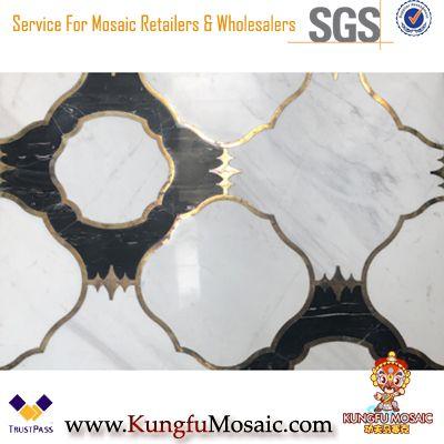 Weiß mit schwarzer Bodenfliese Marmor Waterjet Mosaik