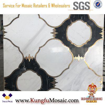 Белый с черным полом плитка мраморная мозаика Waterjet