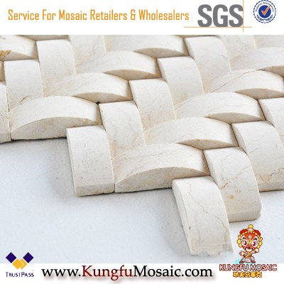 Бежевый смешанный узор Мраморная мозаичная плитка