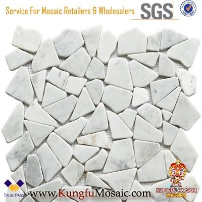 Carrara Broken Stone Marble Mosaic Tile 8mm