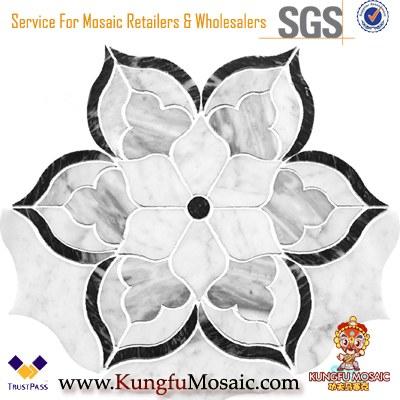 Flower Marble Waterjet Mosaic Floor Tiles Wholesale