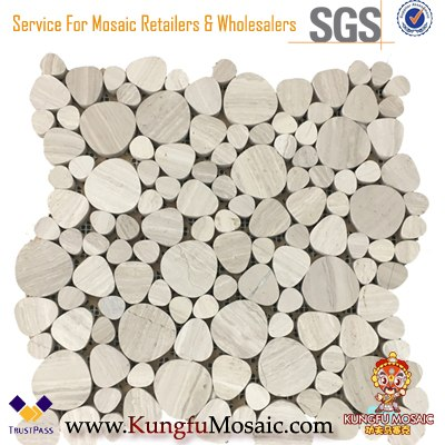 Grey Bubble Round Loose Wood Marble Mosaic