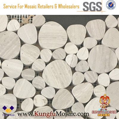 Graue Blase Runde Loses Holz Marmor Mosaik