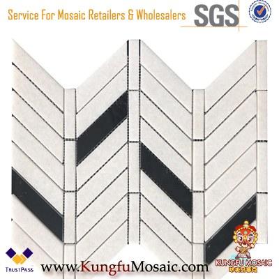 Fischgrät Design Thassos Weiß und Nero Margiua Marmor Mosaik