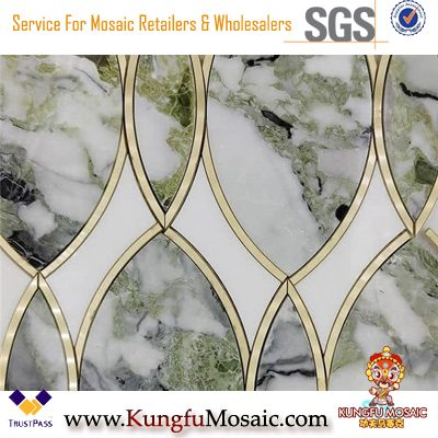Ice Connect Green Marble Mosaic With Metal