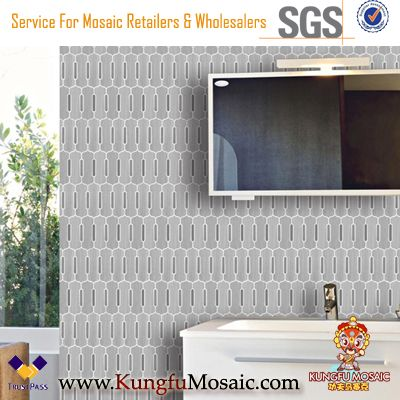 Interior Waterjet Wooden Marble Mosaic