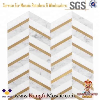 Thassos White Mixed Bianco Carrara Marble and Brass Waterjet Mosaic