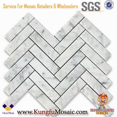 Marble Mosaic Tiles Herringbone