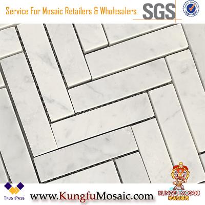 Les carreaux de mosaïque en marbre Herringbone